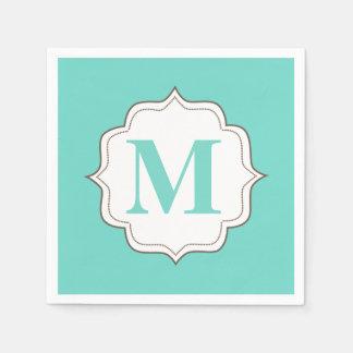 Turquoise Aqua Personalized Monogram Napkins Paper Napkin