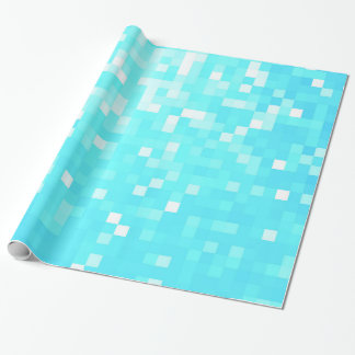 Turquoise Aqua Pixels Wrapping Paper