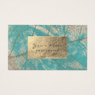 Turquoise Aqua Tiffany Sepia Golden Foil Aquarelle Business Card