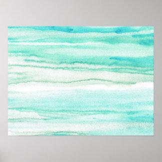 Turquoise Aqua Waves Poster