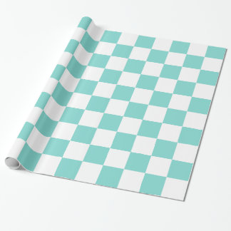 Turquoise Aqua White XL Checker Board Pattern