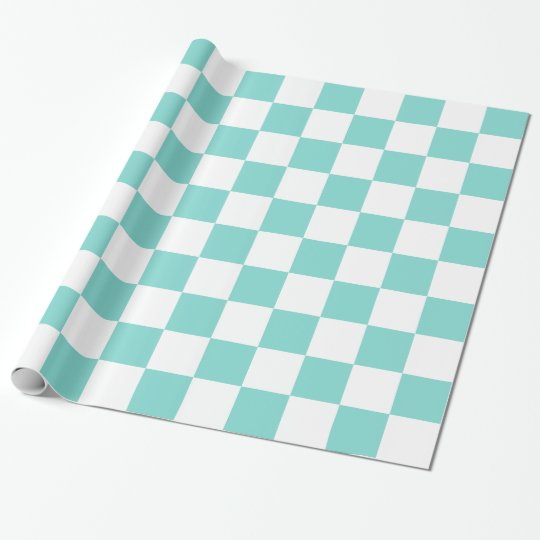 Turquoise Aqua White XL Chequered Board Pattern Wrapping Paper