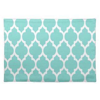 Turquoise Aqua Wht Moroccan Quatrefoil Pattern #4 Placemats