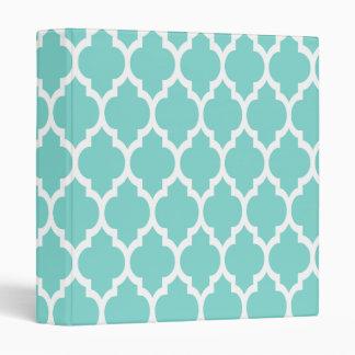 Turquoise Aqua Wht Moroccan Quatrefoil Pattern #4 Vinyl Binder