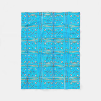 Turquoise Arabian Metal Door Pattern Fleece Blanket