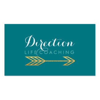 Turquoise Arrow Bold Text Creative Life Coaching Business Card