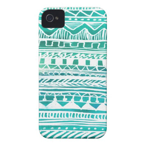 Turquoise Aztec Pattern Case-Mate iPhone 4 Cases