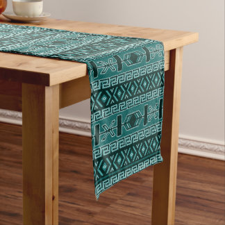 Turquoise Aztec  Southwest Design Short Table Runner
