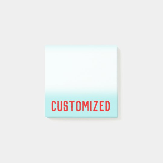 Turquoise Background & Red Bold Personalized Name Post-it Notes