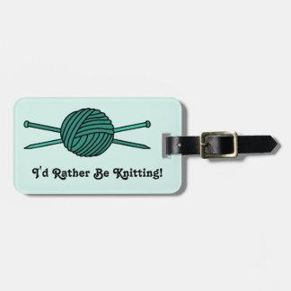 Turquoise Ball of Yarn & Knitting Needles Luggage Tag
