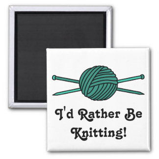 Turquoise Ball of Yarn & Knitting Needles Square Magnet
