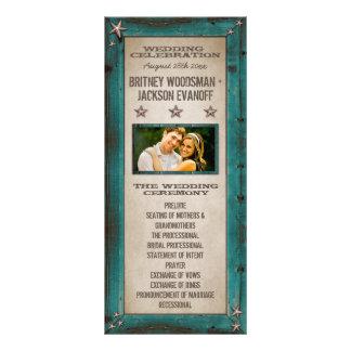 Turquoise Barn Wood Stars Western Wedding Programs Customized Rack Card