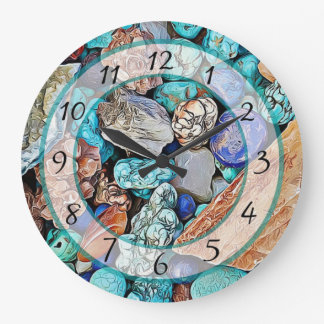 Turquoise Beach Stones Faux Stone Gem Clock