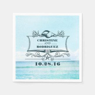 Turquoise Beach Wedding Napkin