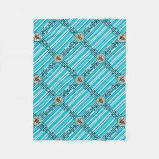 Turquoise Bear Paw Native American Fleece Blanket