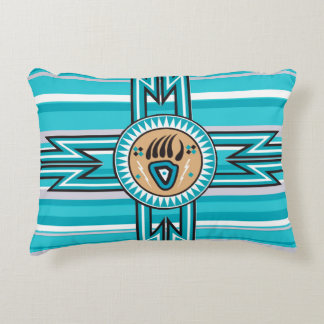 Turquoise Bear Paw Native American Rectangl Pillow