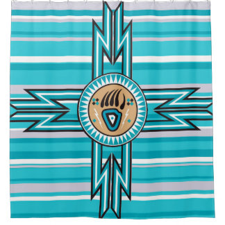 Turquoise Bear Paw Native American Shower Curtain