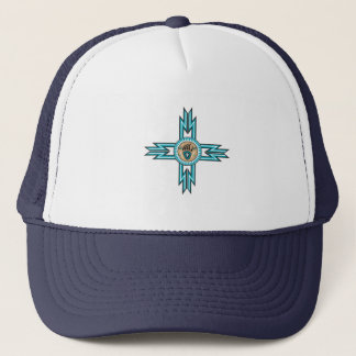 Turquoise Bear Paw Native American Trucker Hat