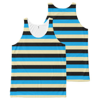 Turquoise, Beige and Black Stripes