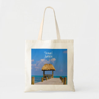 Turquoise Belize ocean and dock Tote Bag