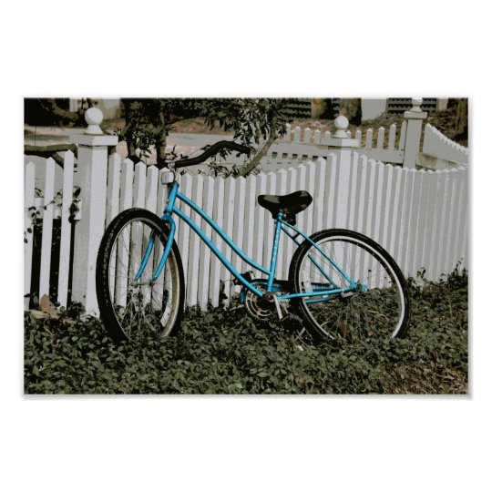 Turquoise Bicycle Leaning on a White Picket Fence Poster