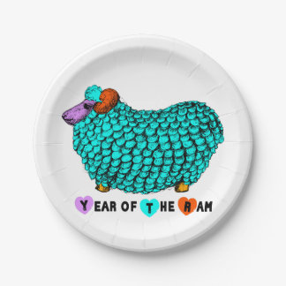 Turquoise Big Ram Chinese Zodiac paper plate 7 Inch Paper Plate
