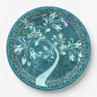 Turquoise Birds in a Tree Gorgeous Paper Plates