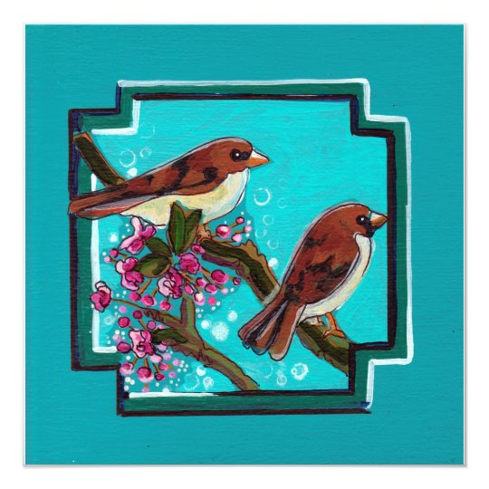 Turquoise birds paintings card