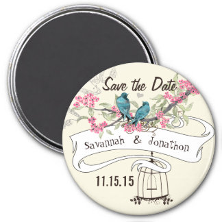 Turquoise Birds Pink Cherry Blossom Save the Date Magnet