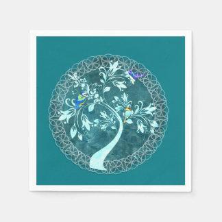 Turquoise Birds & Tree Party Napkins Paper Napkins