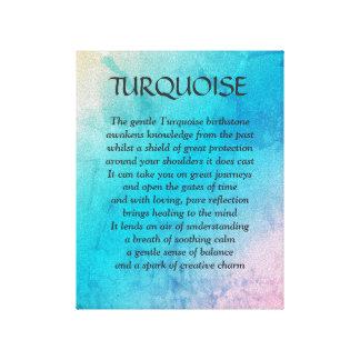 Turquoise birthstone - December poem art canvas