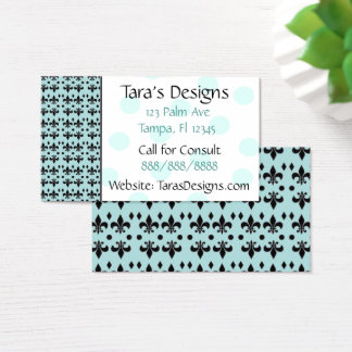 Turquoise & Black Anchors Teal Dots Business Cards