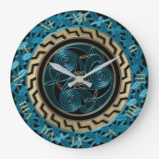 Turquoise Black and Gold Celtic Triskele Clock