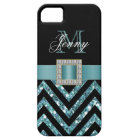 TURQUOISE BLACK CHEVRON GLITTER GIRLY CASE FOR THE iPhone 5