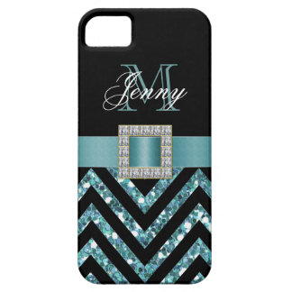 TURQUOISE BLACK CHEVRON GLITTER GIRLY iPhone 5 COVERS