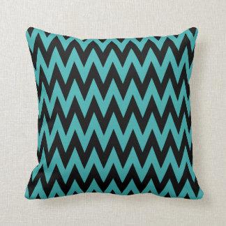 Turquoise Black Chevron Throw Pillow