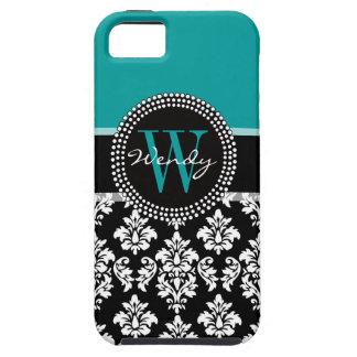 Turquoise, Black Damask Initial Name iPhone 5 Case