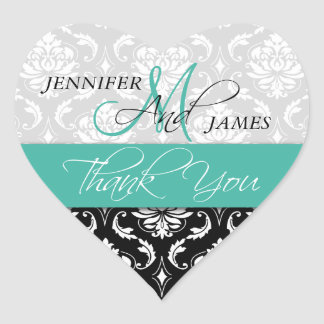 Turquoise Black Damask Wedding Favor Heart Sticker