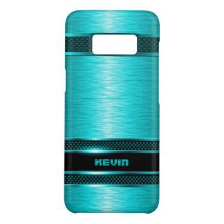 Turquoise & Black Metallic Brushed Aluminum Look Case-Mate Samsung Galaxy S8 Case