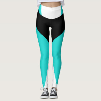 Turquoise Black Sports Pants Slimming Bold Workout