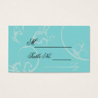 Turquoise Black Swirl Flourish Wedding Place Card