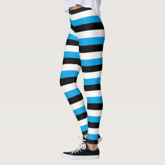 Turquoise, Black, White Stripes Leggings