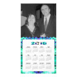 Turquoise blue 2016 yearly calendar personalized photo card