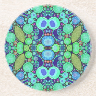 Turquoise Blue Abstract Pattern Beverage Coasters