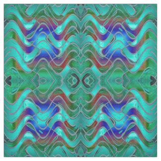 Turquoise Blue Abstract Pattern Fabric