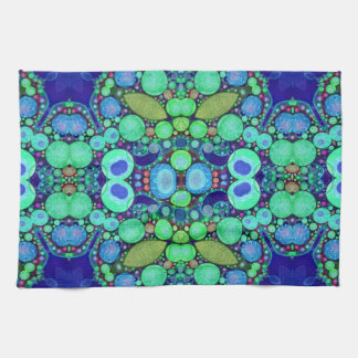Turquoise Blue Abstract Pattern Kitchen Towel