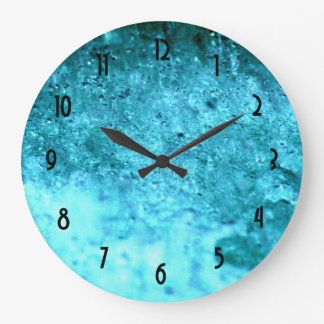 Turquoise Blue Abstract Texture Large Clock