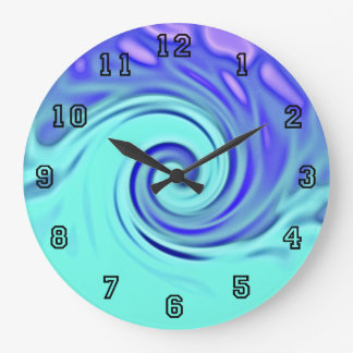 Turquoise Blue Abstract Wave Art Large Clock