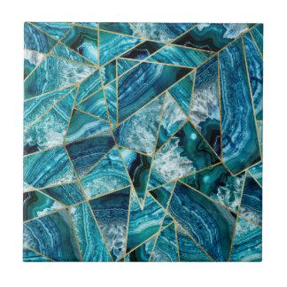 Turquoise Blue Agate Black Gold Geometric Triangle Ceramic Tiles
