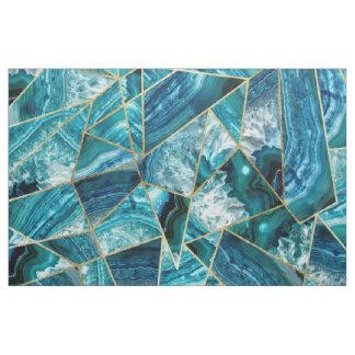 Turquoise Blue Agate Black Gold Geometric Triangle Fabric
